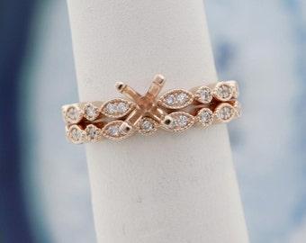 Vintage Art Deco diamond engagement ring & wedding band bridal set semi mount set your diamond, gemstone, moissanite 14k white gold USA Made
