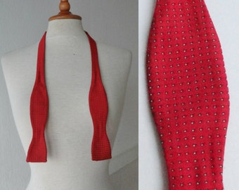 Red Vintage Self Tie Bow Tie With Dots