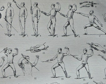 Fencing print. Old book plate. Antique  illustration 1910. 107 years lithograph. 9'4 x  12'5 inches.