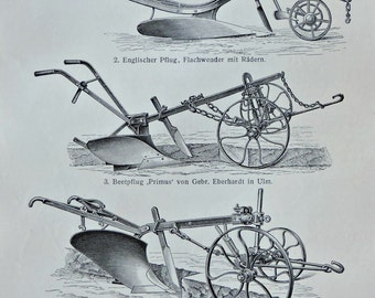 Plough used at the beginning of the 20th century. Old book plate, 1904. Antique illustration. 113 years lithograph. 9'6 x 6'2 inches.