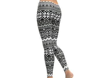 Winter Leggings // Winter Themed Leggings // Printed Leggings // Patterned Leggings // Tribal Leggings // Black and White Leggings