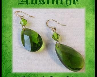 ABSINTHE EARRiNGS GREEN Green Fairy Earrings Teardrop Emerald Crystal Earrings Steampunk Victorian Earrings by SweetDarknessDesigns