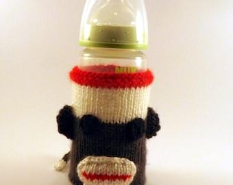 Knit Sock Monkey Baby Bottle Cozy - Baby Bottle Cozy - Knitted Bottle Cover - Sock Monkey Bottle Cover