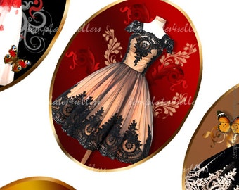 Digital Collage Sheet  Vintage Dress 30x40 mm images Scrapbooking Pendants Jewellery Making Printable Original  4x6 inch sheet 377
