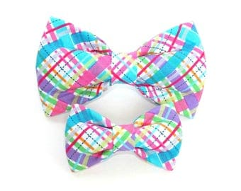 Easter Plaid Dog Bow Tie, wedding bow, dog collar bow tie, pet bow tie,