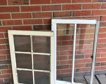 Pair of Vintage Salvage Windows Wood Frames White Paint