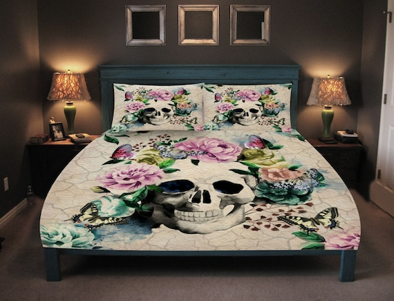 Sugar Skull Duvet Cover Set Skull Bedding Butterfly Floral