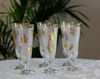 Libbey Golden Foliage Pilsner Beer Glasses Mid Century Barware Set of 6