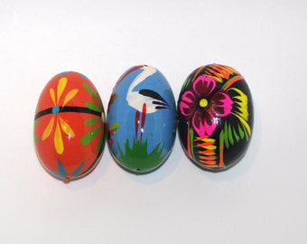 Polish Easter Eggs Pysanky Hand painted decorative wood eggs Pysanka Set of 3 stork swan floral flowers black blue orange Polish Folk Art 80