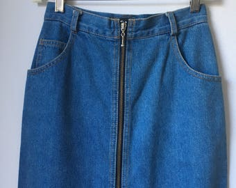 vintage denim zip up midi fitted pencil skirt exposed zipper abs a.b.s blue label