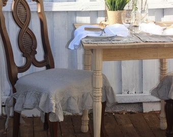 Stone Washed Linen Chair Seat Cover with Ruffle in Natural