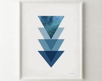 Modern art print, Minimalist art print, Geometric wall art, Navy blue home decor PRINTABLE wall art Triangles wall decor Geometric art print