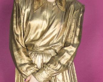 RARE 30s 40s Gold Lamé Dress / 1930s 1940s Day Dress