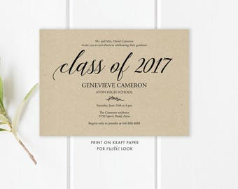 Class of 2017 Graduation Invitation Template | Digital File Graduation Invite | Class of 2017 Invite Editable Template | Instant Download