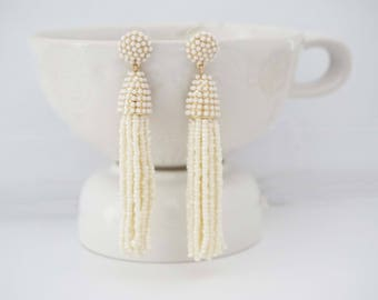 Cream Beaded Tassel Statement Earrings