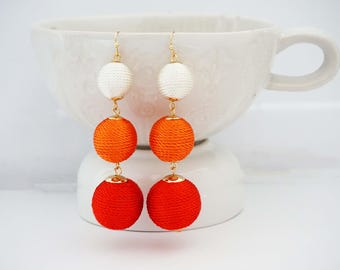 White, Orange, and Red Ball Statement Earrings