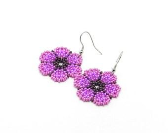 Purple Flower Earrings, Beaded Flower Earrings, Seed Bead Earrings, Bright Flower Earrings, Dangle Earrings, Floral  Summer Earrings For Her