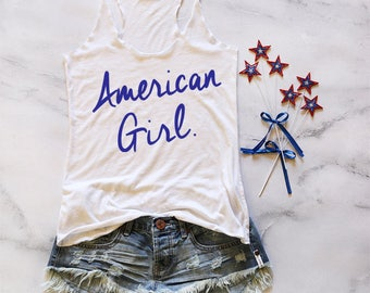 4th of July. Memorial Day American Flag Tank Top. Patriotic. Red White and Blue. Running Tank. Country Music shirt. Workout Tank.  485
