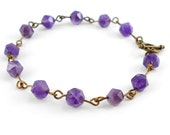 Amethyst Bracelet with faceted cut gemstones and an Antique bronze finish