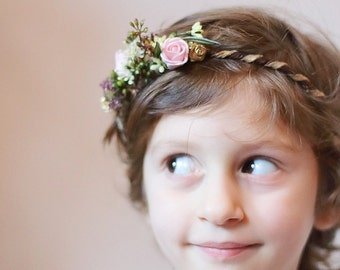 sale -40% floral crown for little girl, bridesmaid crown, romantic and boho floral crown for toddler and girl