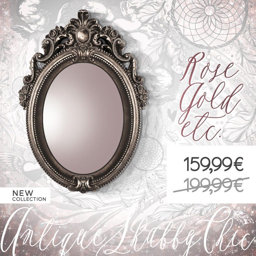 Silver bronze ornate frame oval baroque framed mirror for Baroque mirror canada