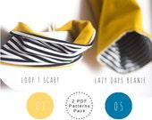 Baby sewing patterns. Slouchy beanie pattern. Scarf bib PDF pattern. Baby scarf. Scarf and beanie. Baby shower. Children sewing pattern.