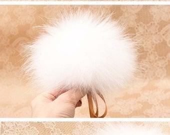 Real Fur Pom Pom Hat Raccoon Pompom Fox Fur Pompom Large Pom Poms Fur Ball Detauchable to  Hat by silk ribbons