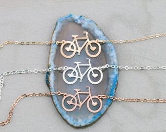 SALE • Biker Gift Bicycle Necklace Biker Jewelry Bicycle Silver Cyclist Fitness Gift •Rider Gold Bicycle Small Fitness Jewelry Exercise Gift