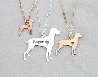 SALE • Weimeraner Dog Necklace Personalized Engraved Dog Jewelry • Vizsla Gift Dog Loss Pet Gift •Dog Breed Pendant Sterling Silver Memorial