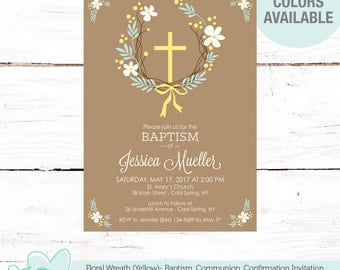 Floral Wreath Baptism Invitation Yellow, Christening, First Holy Communion, Confirmation, Cross, Religious, Flowers, Girl, Boy, Flowers, 5F