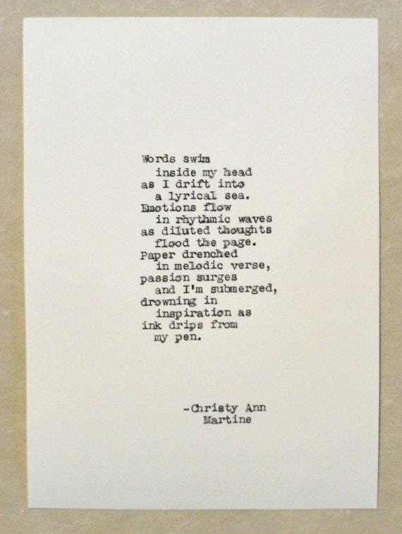 Gifts for Writers - Quotes Poems About Writing - Typed by Poet with 1936 Remington Typewriter onto Handmade or Cardstock Paper