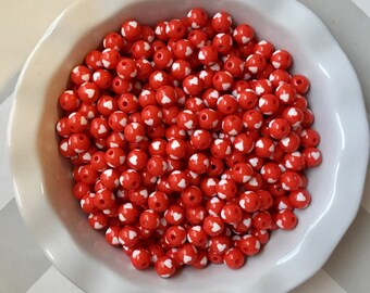 12mm Red Hearts Chunky Bubble Gum Beads Set of 20