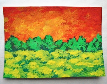 "Sunset Meadow #213 (ARTIST TRADING CARDS) 2.5"" x 3.5"" by Mike Kraus"