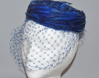 Cute Vintage Pillbox Hat with Veil - Dark Blue Feathers, 1960s