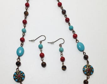 Southwest, Long Necklace, Turquoise Blue Green, Red Coral, Brown Tiger Eye, Magnesite, Semi Precious, Necklace, Earrings