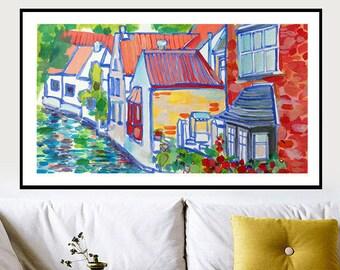 Ilustraciones interiores, paisaje urbano, pintura, arte urbano, arte urbano, pintura Original, paisaje urbano, acuarela, Liona paintng-de-Liva