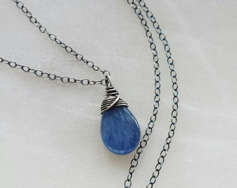Oxidized Kyanite Necklace, Oxidized Sterling Silver Necklace, Small Kyanite Necklace, Oxidized Pendant