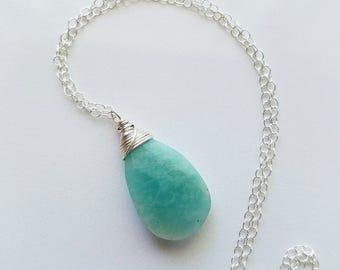 Amazonite Necklace, Large Amazonite Pendant, Sterling Silver Amazonite Necklace, Large Gemstone Necklace, Amazonite Jewelry