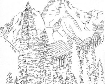 Ink sketch of Grand Teton National Park in Jackson, Wyoming