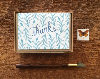 Cattails Thanks, Thank You Cards, Boxed Set of 8 Letterpress Cards, Blank Inside