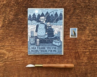 Father's Day Card, Thank You Dad, Fishing Dad, Outdoors Father's Day Card, Folded Letterpress Card, Blank Inside