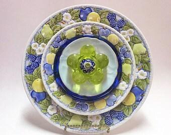 Lawn Decorations - Glass Garden Flower - Garden Art - Plate Flowers - Art Flowers - Glass Flowers - Dish Flowers - Garden Decor