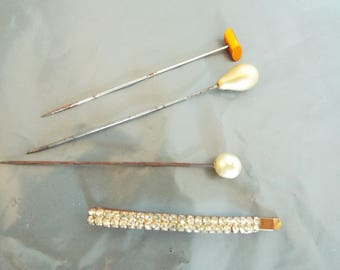 Vintage Set of three Hat pins and One rhinestone hair slide two pearl hatpins and one copper hatpin