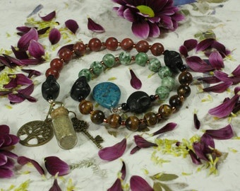 Pagan Prayer Beads Healing Crystals Meditation Gemstone Metaphysical Crystals Pagan Wiccan Druid Gift Witches Witch Ladder
