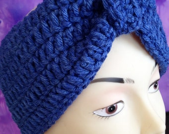 Blue crochet headband/ Chunky crochet headband/ Crochet Ear Warmer/ Winter Headband/ Womens Headband/ Chunky Ear Warmer/ Thick headband Gift
