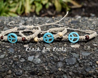 Turquoise Howlite Peace Sign Adjustable Hemp Beach Bracelet