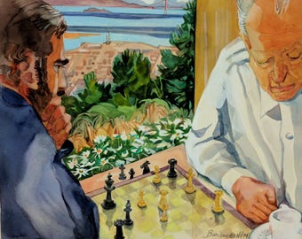 "Katherine Barieau ""Berkeley Hills Chess Players"" 1974 watercolor, signed, San Francisco Bay Area artist"