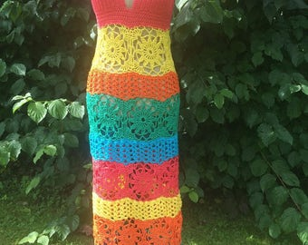 Crochet Maxi dress / Beach dress size M