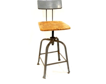 Angle Steel Inc. Adjustable Chair Vintage Wood and Steel Industrial Chair Vintage Steel  sc 1 st  Etsy : lab stools adjustable - islam-shia.org