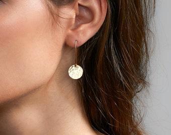 Long Dangle Earrings, Hammered Discs, Gifts for Her, Sterling Silver Earrings, Simple Gold Earrings, Circle Earrings [13mm]